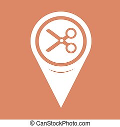 Map Pin Pointer Cut, scissors icon