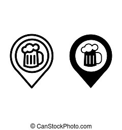 Map pin pointer glass of beer line and glyph icon. Location beer mug vector illustration isolated on white. Pin with beer outline style design, designed for web and app. Eps 10.