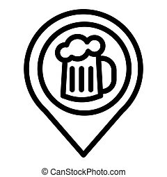Map pin pointer glass of beer line icon. Location beer mug vector illustration isolated on white. Pin with beer outline style design, designed for web and app. Eps 10.