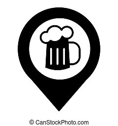 Map pin pointer glass of beer solid icon. Location beer mug vector illustration isolated on white. Pin with beer glyph style design, designed for web and app. Eps 10.