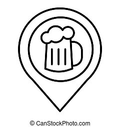 Map pin pointer glass of beer thin line icon. Location beer mug vector illustration isolated on white. Pin with beer outline style design, designed for web and app. Eps 10.