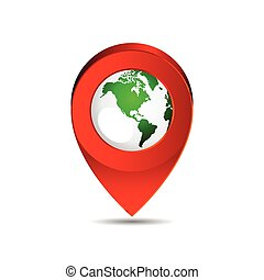 Map pin pointer icon North America