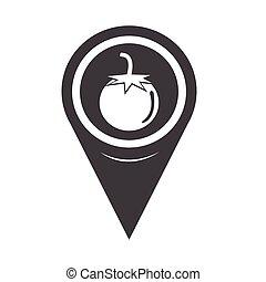 Map Pin Pointer tomato icon