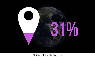 Map pin shape and percentage filling in colour and globe