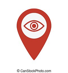 Map pin symbol with Eye icon.