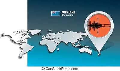 Map pin with Auckland skyline