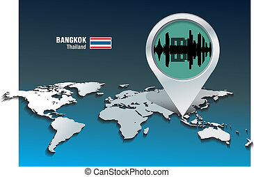 Map pin with Bangkok skyline