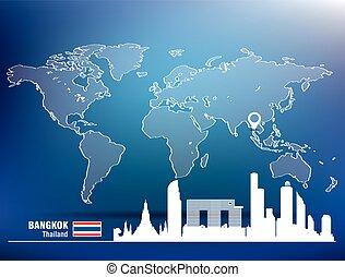 Map pin with Bangkok skyline