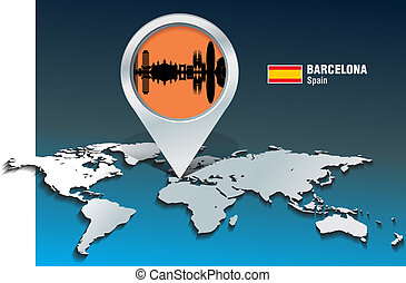 Map pin with Barcelona skyline