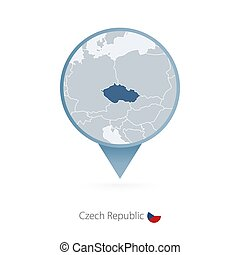 Map pin with detailed map of Czech Republic and neighboring countries.