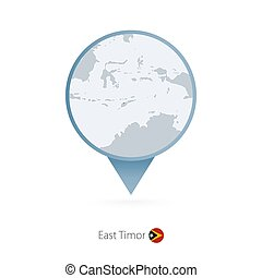 Map pin with detailed map of East Timor and neighboring countries.