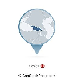 Map pin with detailed map of Georgia and neighboring countries.