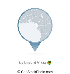 Map pin with detailed map of Sao Tome and Principe and...