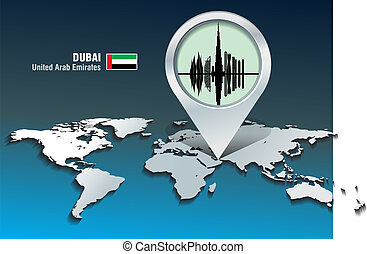 Map pin with Dubai skyline