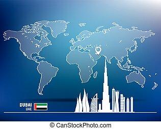 Map pin with Dubai skyline