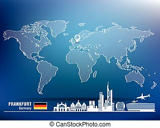 Map pin with Frankfurt skyline - vector illustration