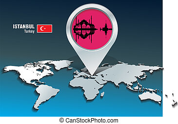 Map pin with Istanbul skyline - vector illustration