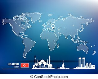Map pin with Istanbul skyline