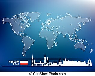 Map pin with Krakow skyline
