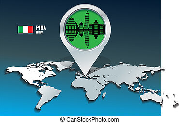 Map pin with Pisa skyline
