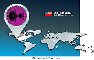 Map pin with San Francisco skyline