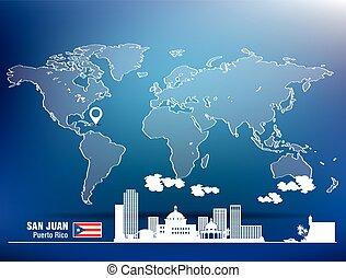 Map pin with San Juan skyline