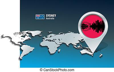 Map pin with Sydney skyline