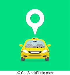 Map pin with taxi car sign.