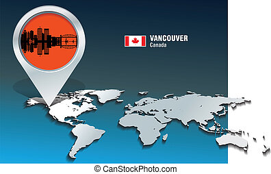 Map pin with Vancouver skyline - vector illustration