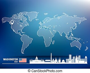 Map pin with Washington skyline