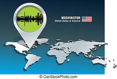 Map pin with Washington skyline