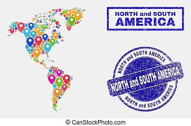 Map Pins Collage of South and North America Map and Grunge Stamps