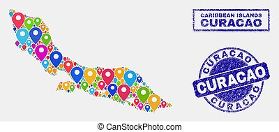 Map Pins Mosaic of Curacao Island Map and Grunge Seals