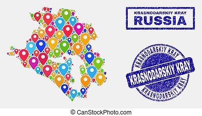 Map Pins Mosaic of Krasnodarskiy Kray Map and Textured Stamp Seals