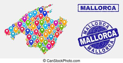 Map Pins Mosaic of Mallorca Map and Grunge Stamps - Vector...