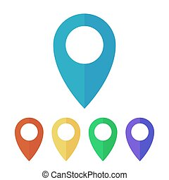 Map pins, pointers flat icons