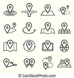 Map pins related icon set. Vector symbols isolated on a white background. Simple pictograms