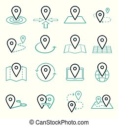 Map pins related icon set. Vector symbols on a white background. Simple pictograms