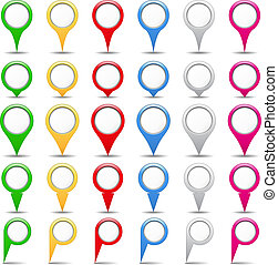 Map pins - Set of map pins, vector eps10 illustration