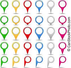 Set of map pins, vector eps10 illustration