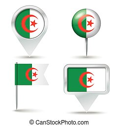 Map pins with flag of Algeria