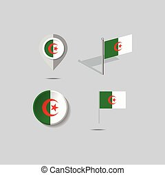 Map pins with flag of ALGERIA - vector illustration