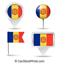 Map pins with flag of Andorra
