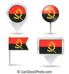 Map pins with flag of Angola