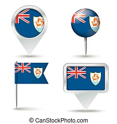 Map pins with flag of Anguilla