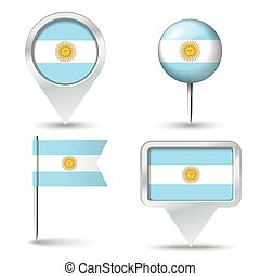 Map pins with flag of Argentina - vector illustration