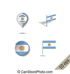 Map pins with flag of ARGENTINA