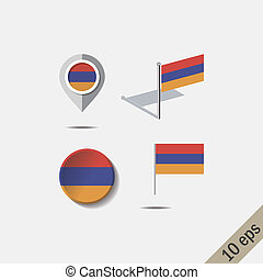 Map pins with flag of ARMENIA