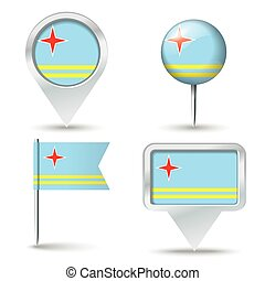 Map pins with flag of Aruba
