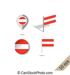Map pins with flag of Austria